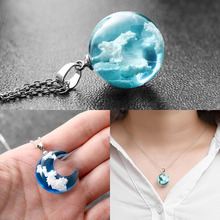 New Blue Sky White Cloud Pendant Necklace for Women Transparent Rould Ball Shape
