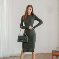 Fashion women new arrival simple knit soft basic dress party high quality casual autumn winter warm slim thick pencil dress