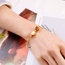 Luxury Gold Color Stainless Steel Initial Bracelet For Women Heart 26 A-Z Letter Charm Bangle Adjutable Fashion Jewelry Gift недорого