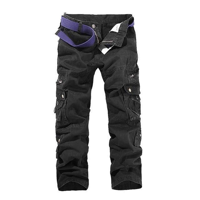 SHUJIN High Quality Men's Cargo Pants Casual Loose Multi Pocket Military Pants Long Trousers For Men Camo Joggers Plus Size 3