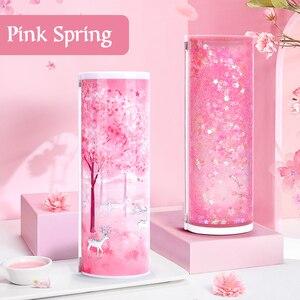 Image 1 - Newmebox Pink Pencil Case Kawaii Fallen Flower Pen Box School for Girl Plastic Stationery Romantic Cherry Blossom Back To School