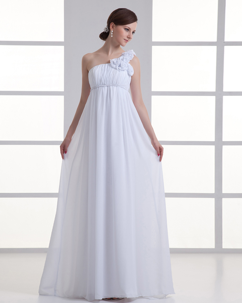 Free Shipping 2018 New Formal Custom Color/size Pregnant Women One-Shoulder White Sweetheart Long Pageant Bridesmaid Dress