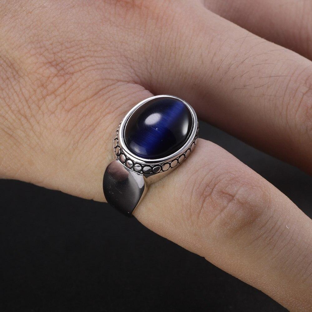Image 5 - Настоящее чистое серебро 925 пробы ювелирные изделия голубые тигровые глаза кольца для мужчин и женщин овальная форма натуральный камень простой дизайн турецкие ювелирные изделияКольца   -