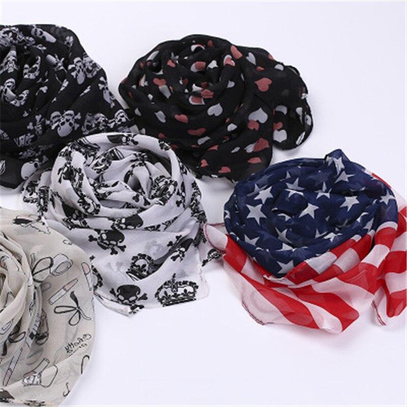 2019 Print Heart Skull Star Striped Chiffon Long Thin Women Girl Shawl Wrap Pashimina Scarf Soft Fashion Accessories-MHC-W6