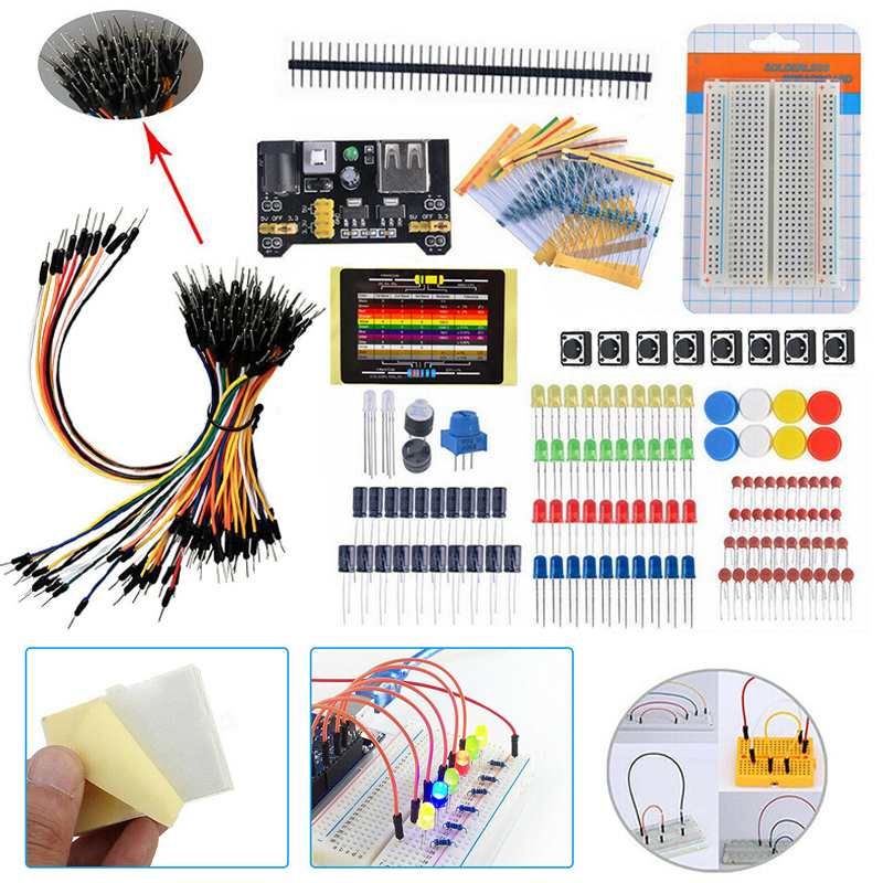 1 Set Durable Beginners Electronic Components Kit Learning Starter Kit Breadboard Components Projects Resistance Meters