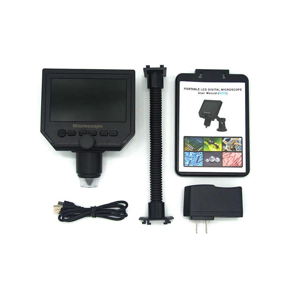 600X مجهر رقمي فيديو إلكتروني مجهر 4.3 بوصة شاشة كمبيوتر محمول ذات دقة عالية لحام مجهر الهاتف إصلاح المكبر + حامل معدني