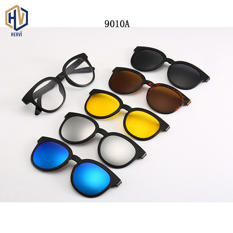 Polarized <font><b>Sunglasses</b></font> <font><b>Men</b></font> Women <font><b>5</b></font> <font><b>In</b></font> <font><b>1</b></font> <font><b>Magnetic</b></font> <font><b>Clip</b></font> <font><b>On</b></font> Glasses TR90 Optical Prescription Eyewear Frames Eyeglasses Send Pouch image