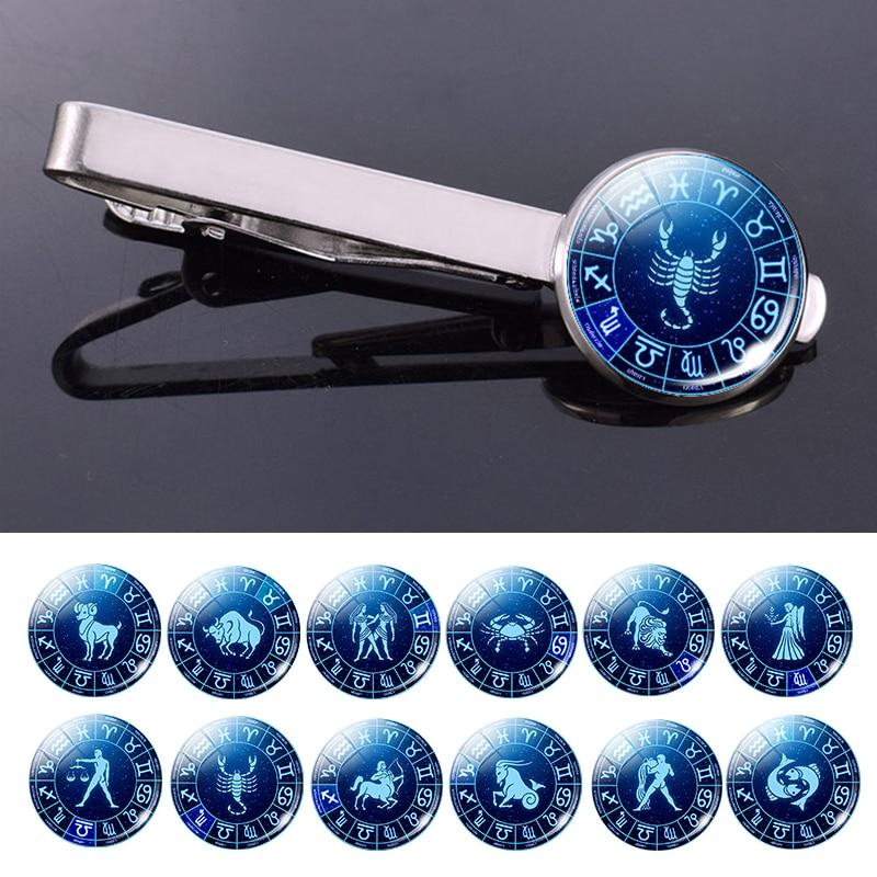 Men Birthday Gifts 12 Constellation Tie Clips Silver Alloy Tie Bar Clip Pins Zodiac Signs Jewelry Tie Accessories