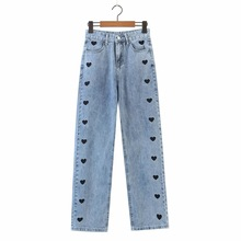 Jeans Trousers Black Pants Slim French Spring Embroidery Retro Casual Love New