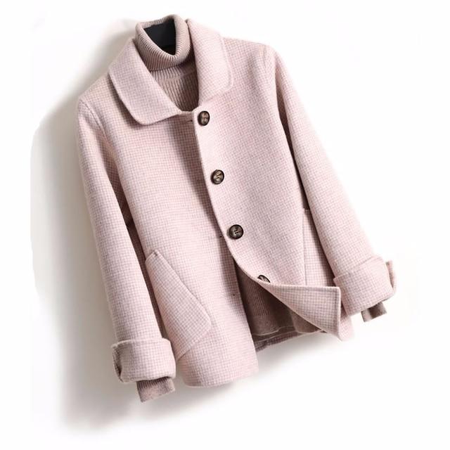Double Wool Coat Coats & Jackets Women color: Beige Black Pink