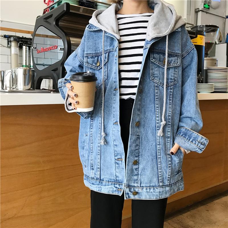 2020 Spring Autumn Korean Style Hooded Denim Jacket Women Outerwear Oversized Loose Vintage Student Jeans Jacket Coat Female