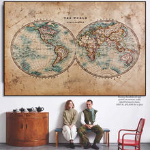 Старый века политическая карта мира Выберите Холст Картина плакат