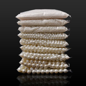4/6/8/10/12/14/16mm pearl beads ABS loose Round Beads Craft For Fashion Jewelry Making white beige DIY Imitation Garment - discount item  15% OFF Arts,Crafts & Sewing