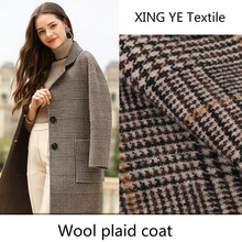 Cashmere Wool Plaid Fabric Autumn Winter Women's Clothing by Meter for Sewing Suit Coat
