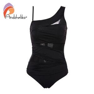 Image 4 - Andzhelika Một Mảnh Sexy 1 Vai Đầm Lệch Vai Lưới Miếng Dán Cường Lực Đồ Bơi Áo Tắm Monokini