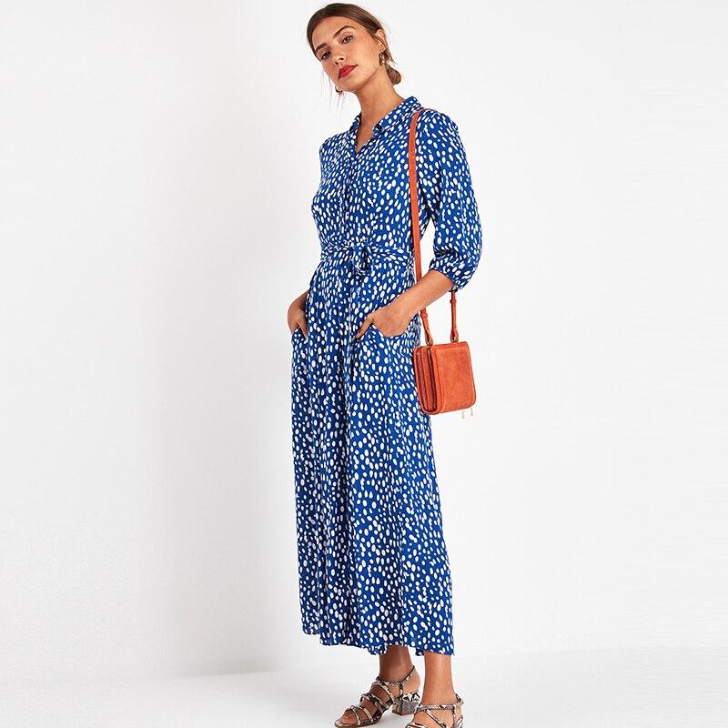 Vintage Floral Print Maxi Dress Women Boho Three Quarter Sleeve Long Sashes Dress Turn Down Collar Casual Shirt Dresses Robe 5
