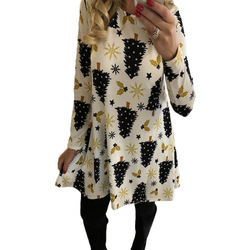 Print Long Sleeve Winter Christmas Dress Women 2019 Casual Loose Party Dress Plus Size S-5XL Vestidos 2