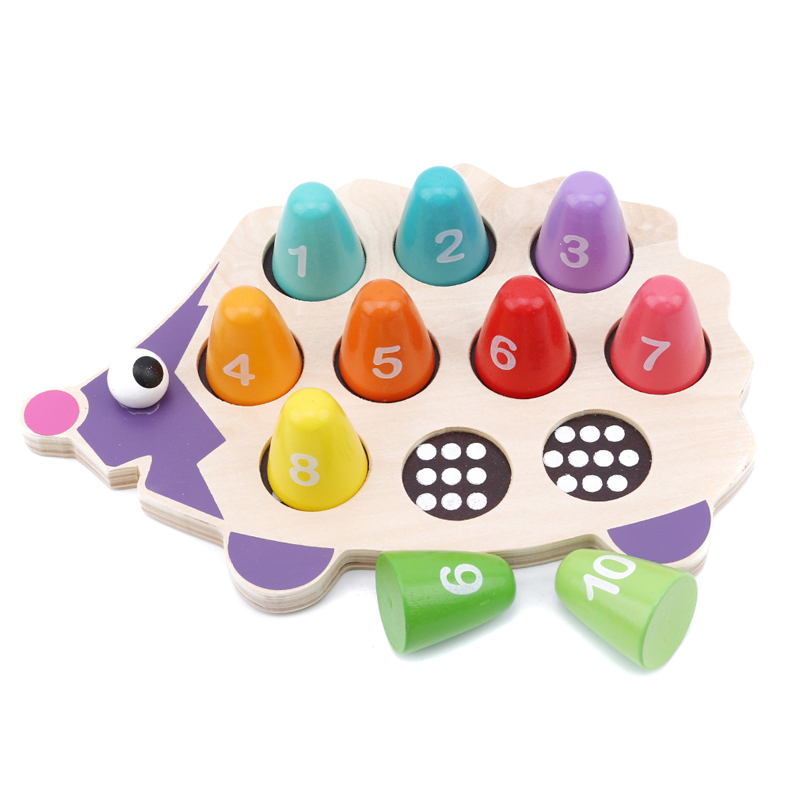 Kids Toy Montessori Educational Wooden Toys Hedgehog Matching Numerals Puzzle Toys Math Toys Early Educational Toys For Children