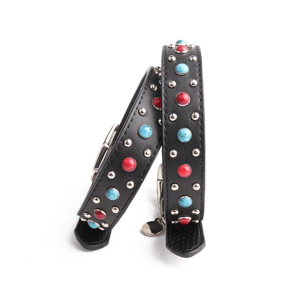 Amin Lattice New Style Large Dog Colorful Crystals Genuine Leather Neck Ring Dog Neck Ring