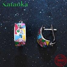 2018 like Colorful phoenix Enamel Earrings For women 925 Sterling Silver fine Stud Earrings Party Jewelry DIY Gift Fashion