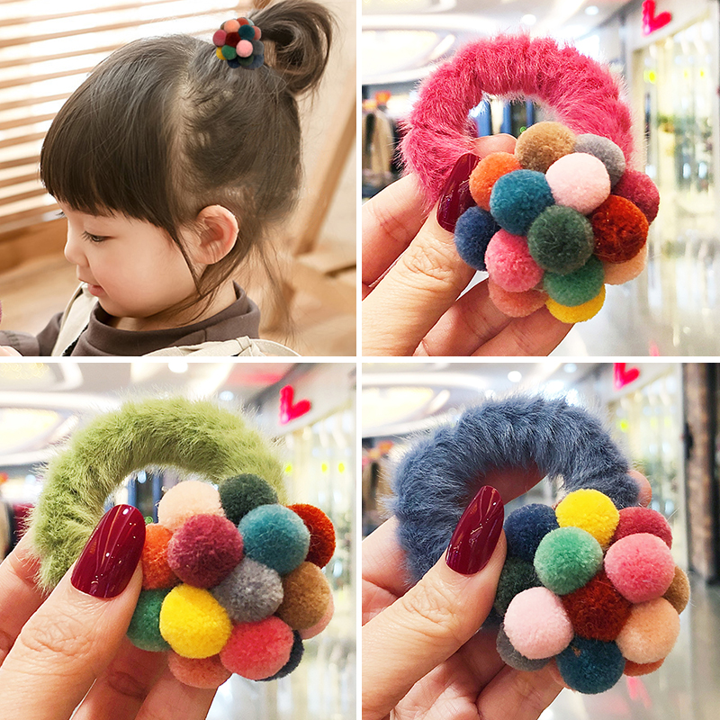 New Winter Woment Girls Mix Hairball Elastic Hair Bands Lady Lovely Candy Faux Fur Srunchie Rubber Bands Female Hair Accessories