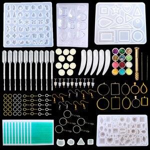 Наборы из силиконовой смолы, набор инструментов для литья ювелирных изделий, включая ювелирные изделия, подвески, серьги-гвоздики, штифты д...