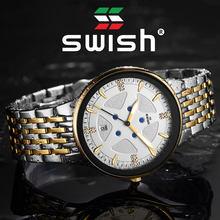 Часы наручные swish Мужские кварцевые модные светящиеся водонепроницаемые