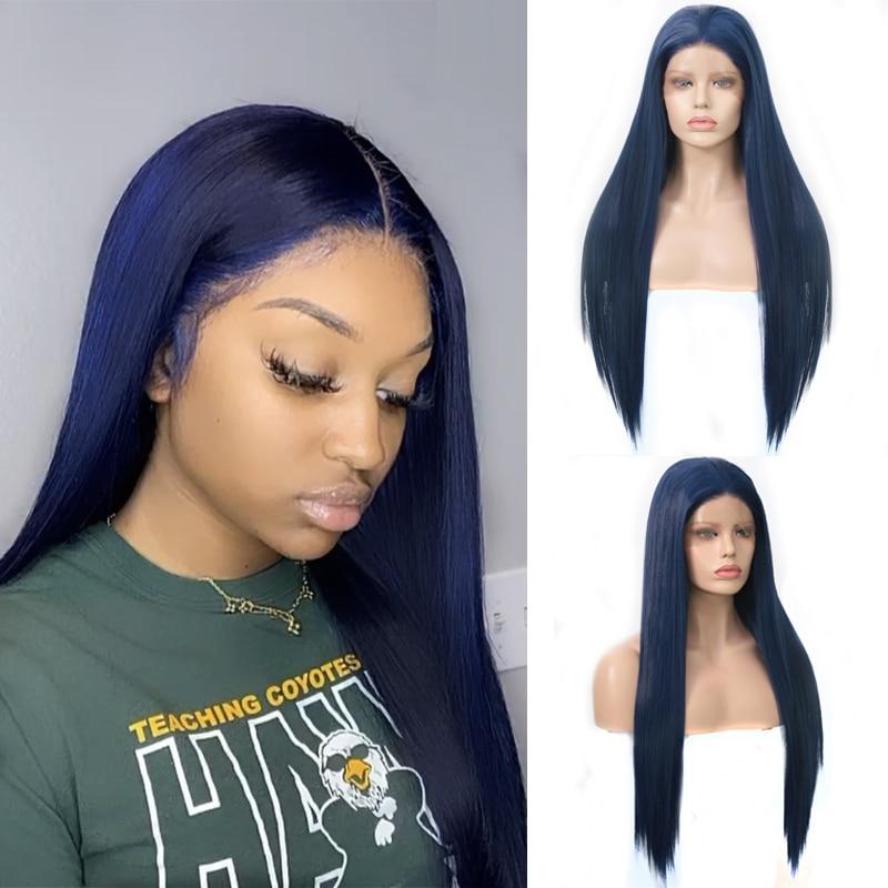 Charisma-perruque Lace Front Wig bleu foncé sans colle | Perruque synthétique longue et soyeuse, perruque Lace Wig avec raie au milieu pour femmes noires