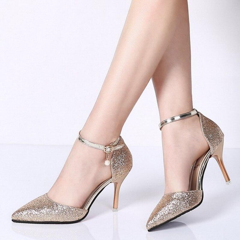 Zapatos de fiesta de boda elegantes con brillo dorado y plata para mujer con tacones altos y puntiagudos 2019