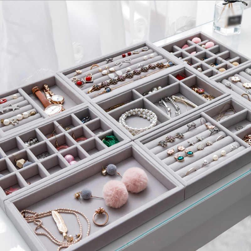 Sale New Drawer Jewellery Organizer Box Gray Diy Jewelry Storage Tray Rings Bracelet Gift Box Velvet Earrings Display Tray 1pc Aliexpress