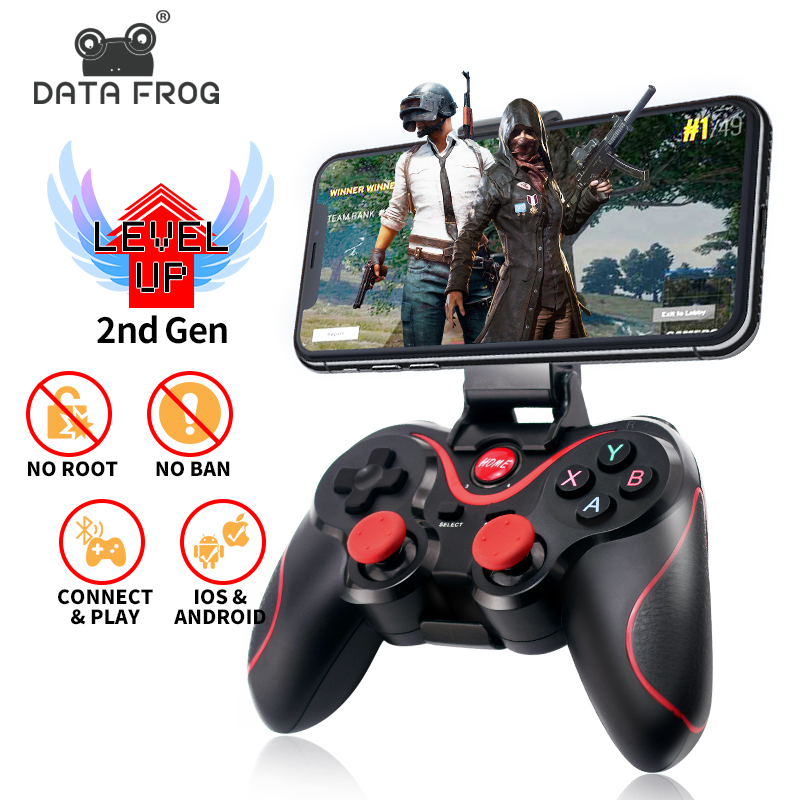 Data Frog Wireless Bluetooth Gamepad Support Official App Game Controller For iphone Android Smart Phone For PS3 PC TV Box-in Gamepads from Consumer Electronics