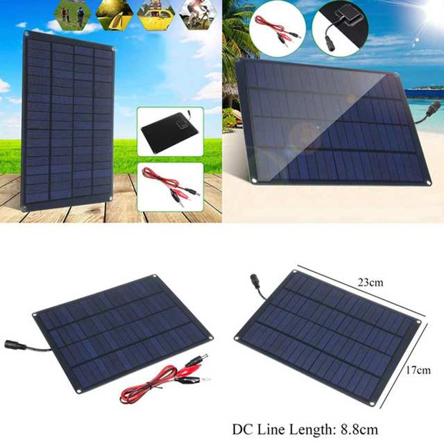 20W 12V 18V Solar Panel with battery Clip+10/20/30/50A Solar Car Charger Controller Solar Cells for Outdoor Camping Hiking 3