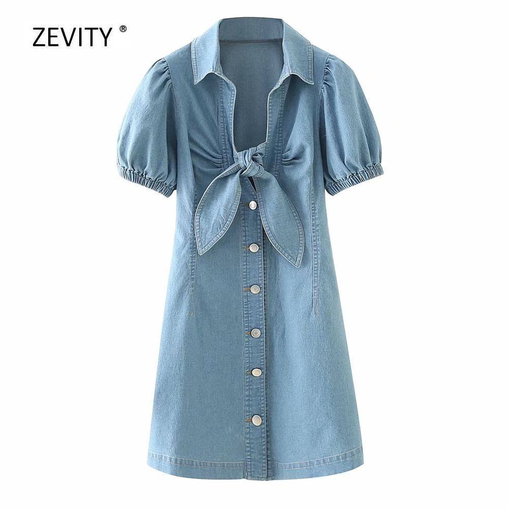 New 2020 women vintage puff sleeve bow tied decoration denim dress female breasted jeans vestido chic casual slim dresses DS3933