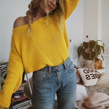 купить Knitted Sweater Women Off Shoulder Pullover Women Sweater 2019 New Long Sleeve Loose Jumpers Oversized Sweater Pull Femme онлайн