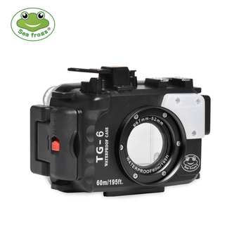 цена на For Olympus TG6 Case 60M/195ft TG6 Underwater Diving Camera Housing Waterproof Case With Dual Fiber-Optic ports