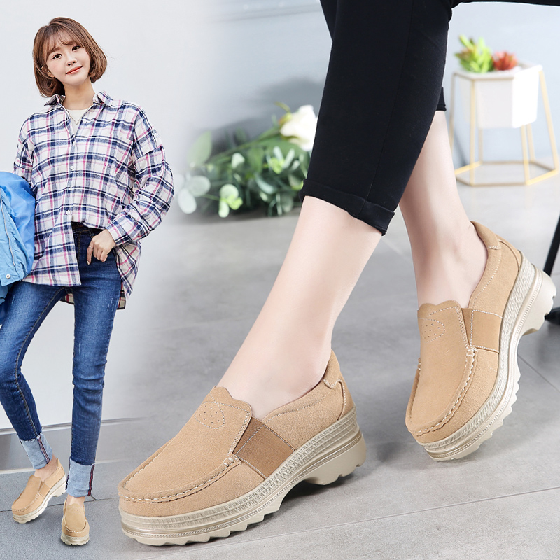 Image 5 - STQ 2020 Autumn Women Platform Sneakers Shoes Oxford Shoes For Women Slip On Loafers Shoes Casual Flat Sneakers Shoes 5068Womens Flats   -