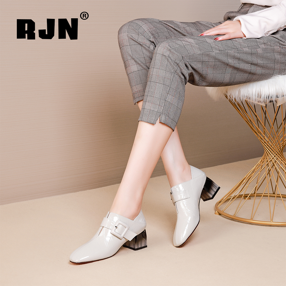 Buy RJN Stylish Women Pumps Buckle Decoration Wood Grain High Heel Square Toe High Quality Patent Leather Slip-On Ladies Pumps RO27
