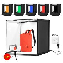 PULUZ 60*60 centimetri 24 inch Portable Photo studio box Fotografia Softbox 60W Bianco Illuminazione Studio di Ripresa Tenda box Kit & 6 Fondali