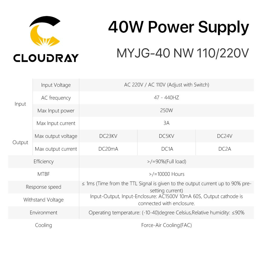 Alimentatore laser a CO2 Cloudray 40W MYJG-40 110 V 220 V per - Parti di macchine per la lavorazione del legno - Fotografia 6