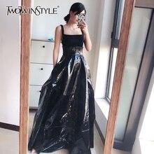 TWOTWINSTYLE, элегантные женские юбки из искусственной кожи, высокая талия, туника с рюшами, подол, макси, вечерние юбки для женщин, модная одежда