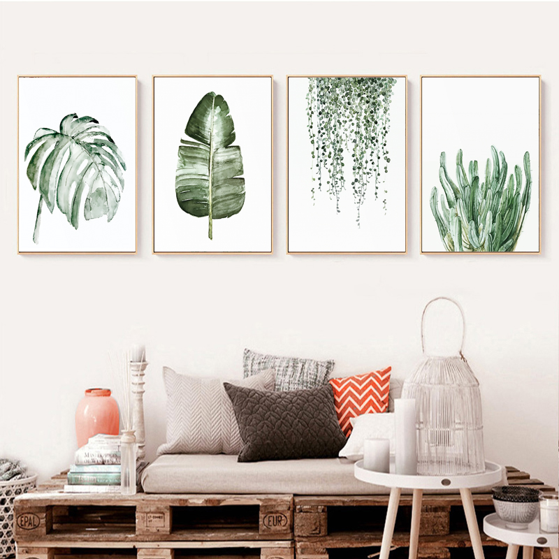 H8708b18387d640339fb2d66c1d10044aU ART ZONE Tropical Plant Leaves Canvas Art Print Poster Nordic Green Plant Wall Pictures Kids Room Large Painting No Frame