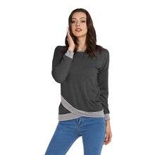 Seluxu 2019 Fall Autumn Femme T-Shirt Solid Color Patchwork T-Shirt Irregular Hem Women Tops Round Neck Long Sleeve T-Shirt