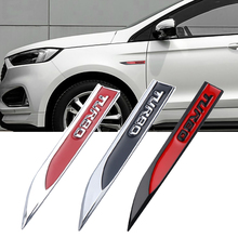 2Pcs TURBO 3D โลหะสติกเกอร์รถด้านข้าง Fender Body ตกแต่งป้าย Leaf Board Emblem Decals สำหรับ Audi VW BMW Bezn Honda JEEP
