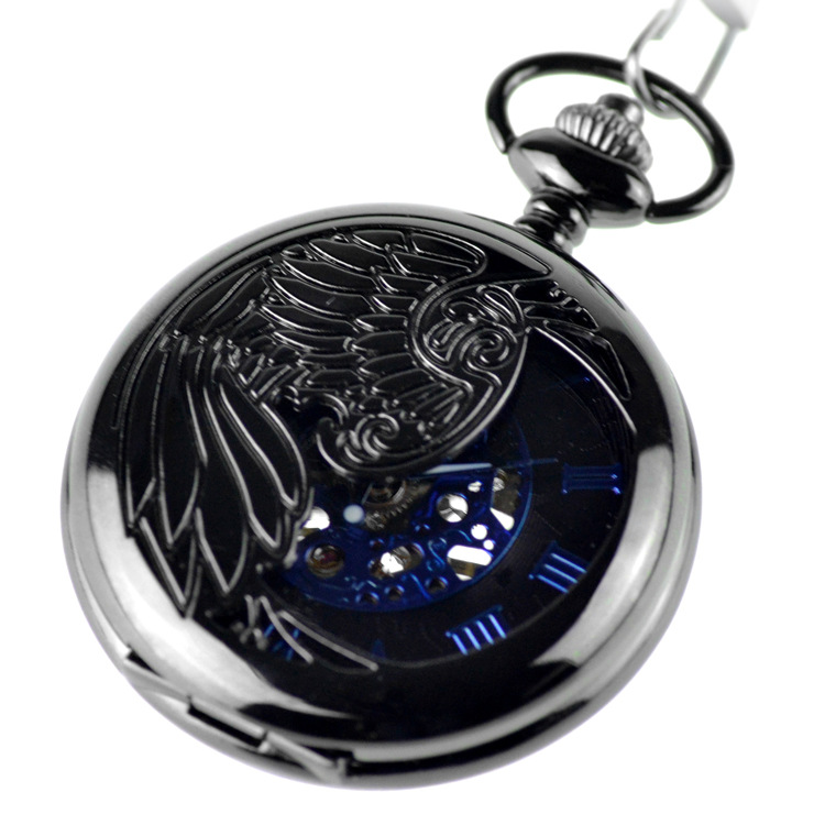 Male Clock Antique Steampunk Skeleton Classic Blue Color Mechanical Pocket Watch Necklace Chain