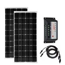 Kit Solar 200w Splar Panel 100w 18v  Monocrystalline PWM Charge Controller 12v/24v 30A Phone Charger Battery Car