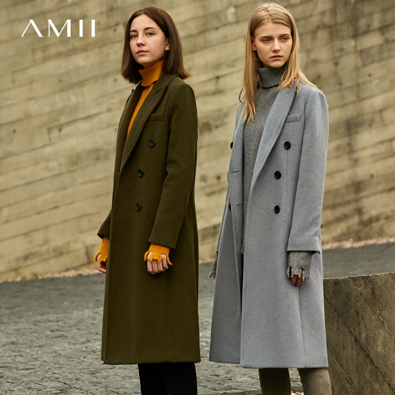 Amii Minimalist Double Breasted Woolen Coat Winter Women Lapel Solid Straight Split Female Long Jackets  11727829
