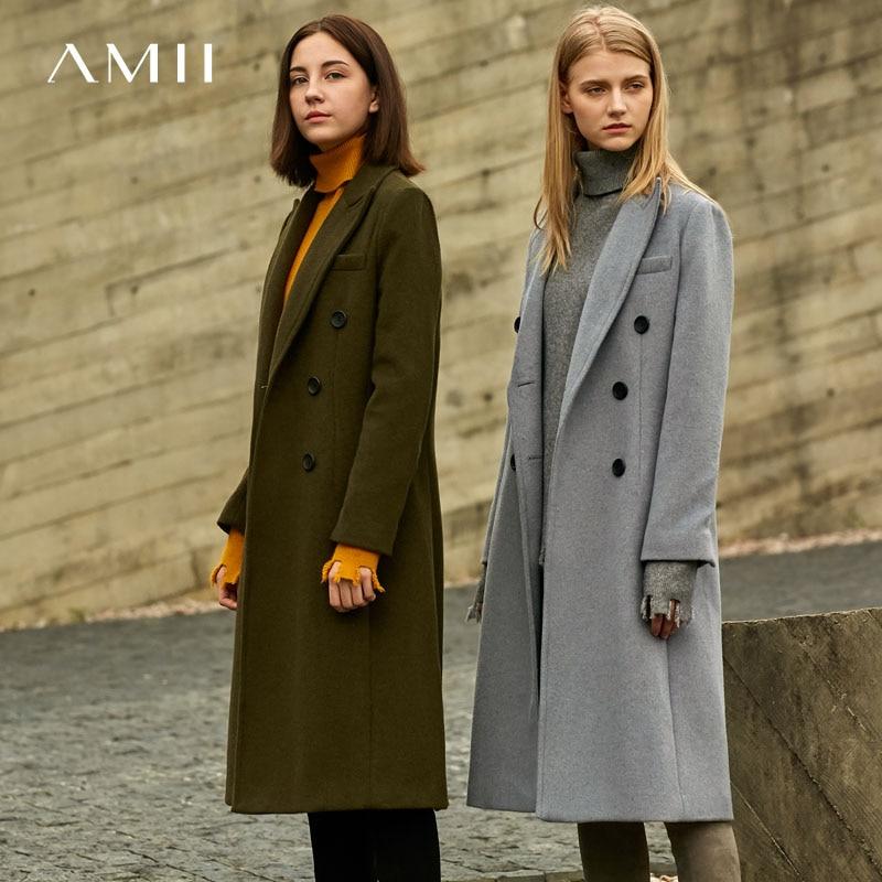 Amii Minimalist Double Breasted Woolen Coat Winter Women Lapel Solid Straight Split Female Long Jackets  11727829