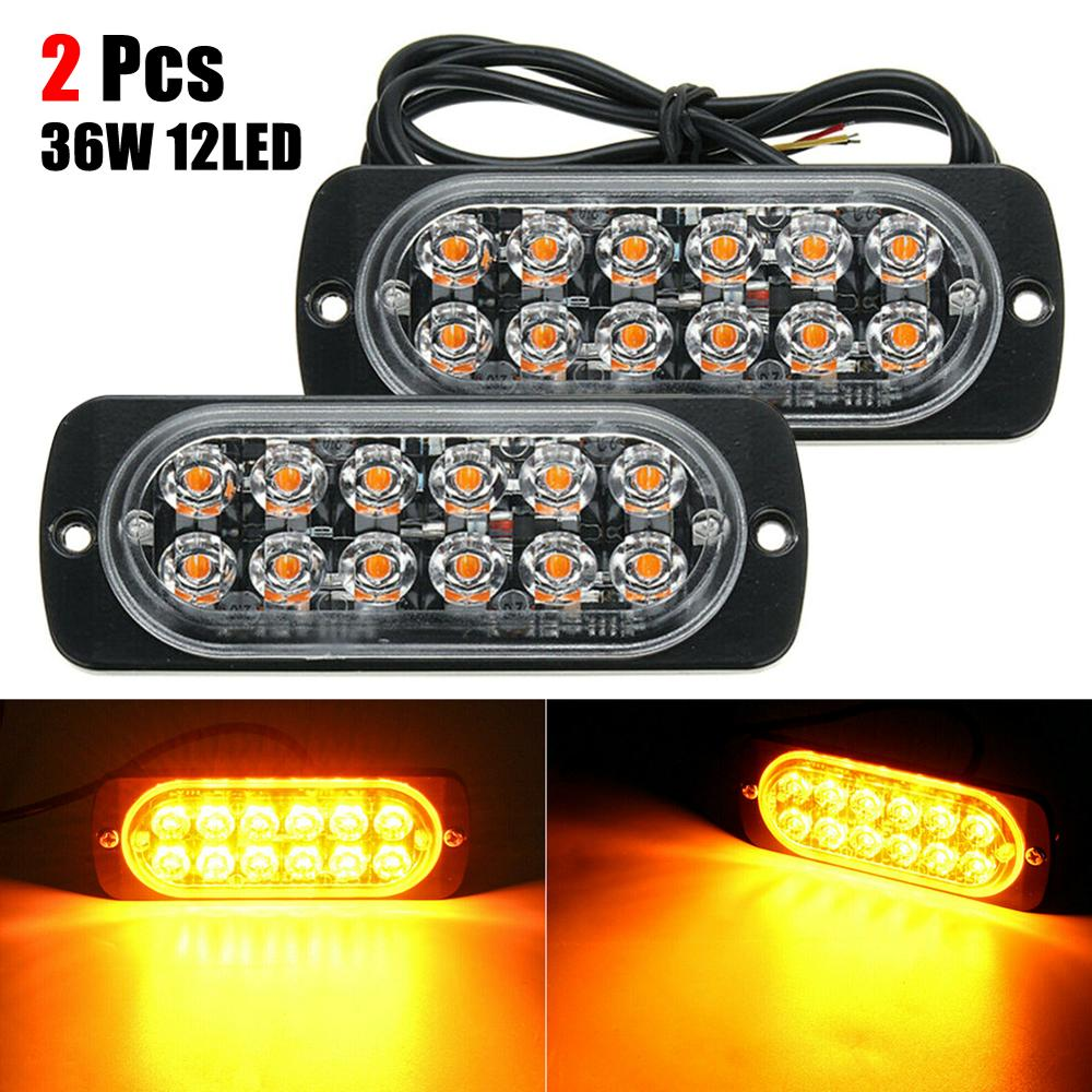 2pcs Emergency Strobe Lights For Trucks, Amber Recovery Car 12 Chips LED Lighting Bar Orange Grill Breakdown Flashing 12/24V Amb