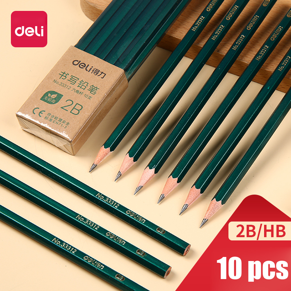 10PCS Wood Pencil Students Use 2B 2H HB Writing Hexagonal Special Sketch Children Drawing Pencil Art Stationery Office School