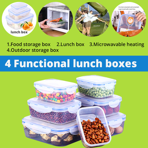 Image 2 - Kitchen Plastic Microwave Bento box Outdoor Picnic Food Storage Container Eco Friendly lunch box for kids school Dinnerware Set